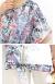 裾結びデザイン花柄トップス